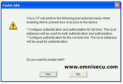 CCP AAA login authentication enable AAA message