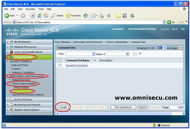 Cisco Secure ACS Command Set Create