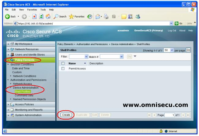 Cisco Secure ACS Shell Profile Create