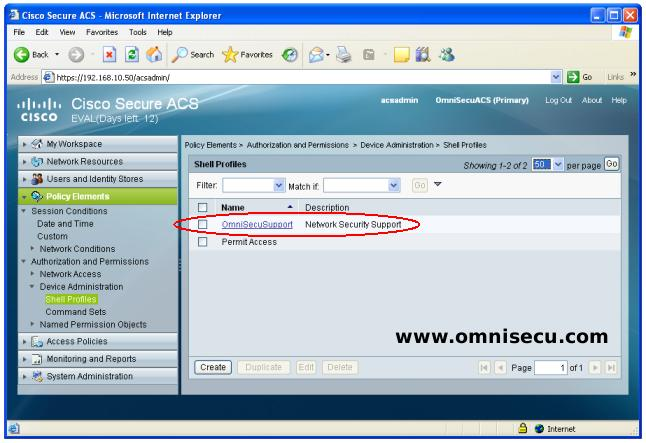 Cisco Secure ACS  Shell Profile Created