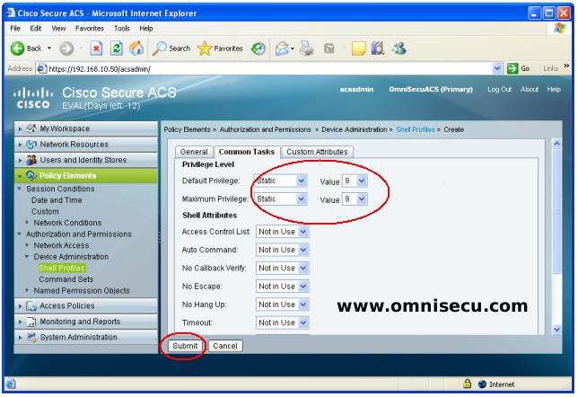 Cisco Secure ACS Shell Profile Default Maximum Privilege