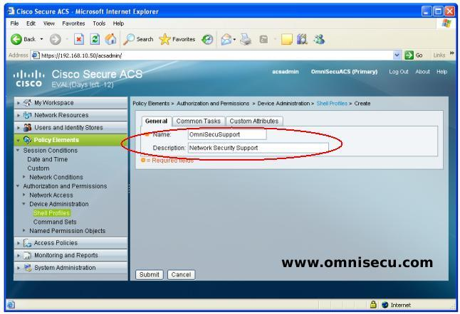 Cisco Secure ACS Shell Profile Name