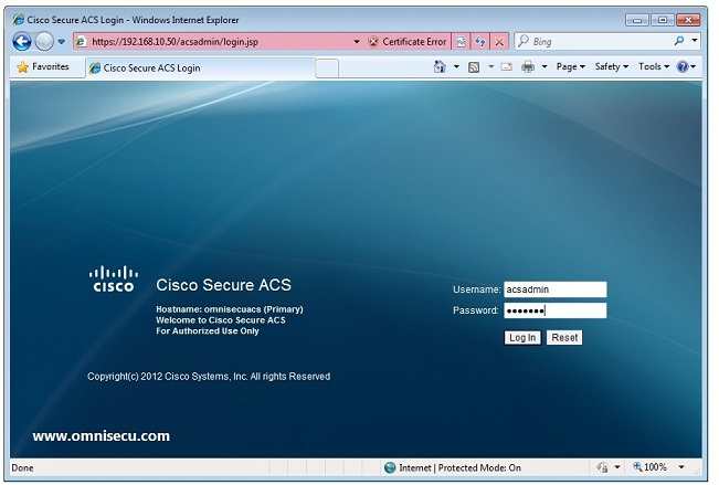 How to connect manage and configure Cisco ACS using web browser