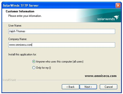 Solarwinds TFTP Server installation customer information