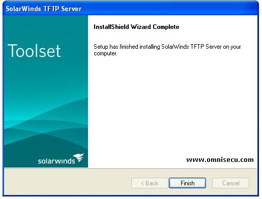 Solarwinds TFTP server installation finish