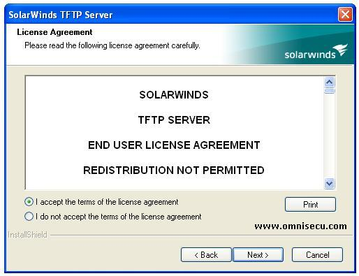 Solarwinds TFTP server installation license agreement