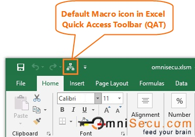 Default Macro Button Icon in Excel Quick Access Toolbar