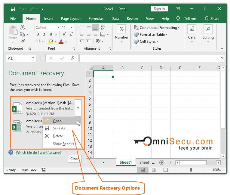 How to recover an Excel file using AutoRecover