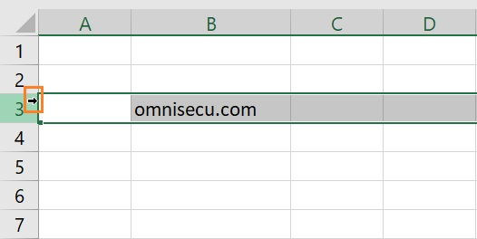 Excel select entire row mouse pointer