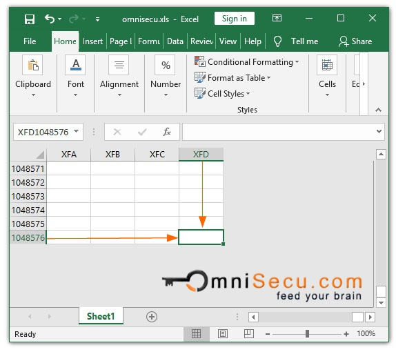 Maximum rows and columns in Excel Worksheet