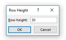 Enter Row height value in Row height dialog box