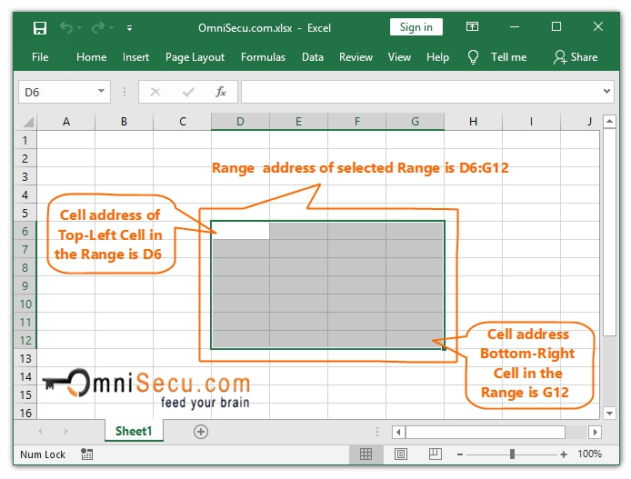 What is Range in Excel Worksheet and How to form a Range Address