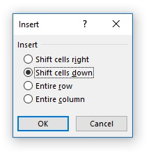 Insert Cells dialog box