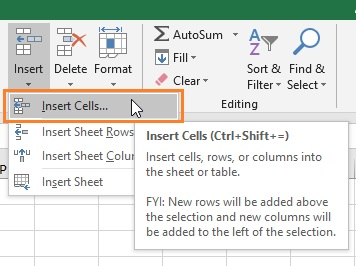 Insert Cells Excel Ribbon Command