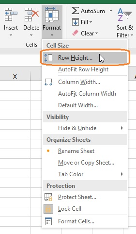 Open Row height dialog box from Excel Ribbon