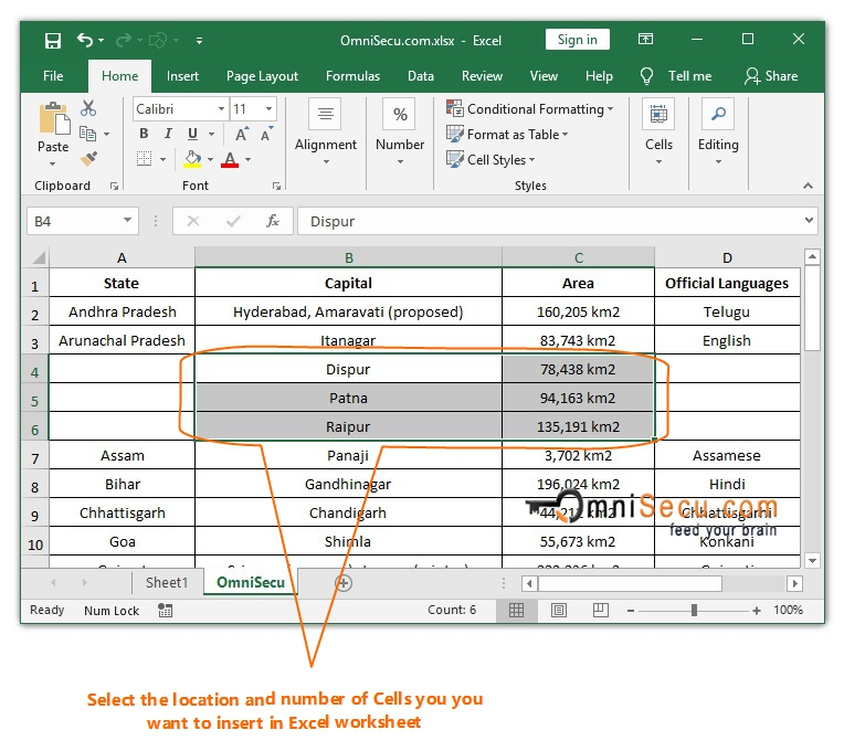 Select location and number of Cells in Excel worksheet