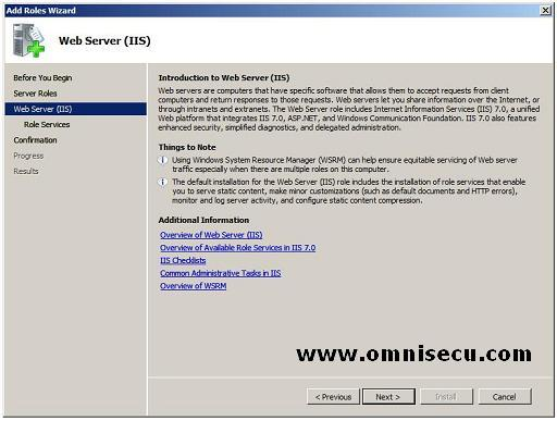 Add roles wizard introduction to web server