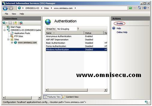 Configure Windows Authentication IIS 7