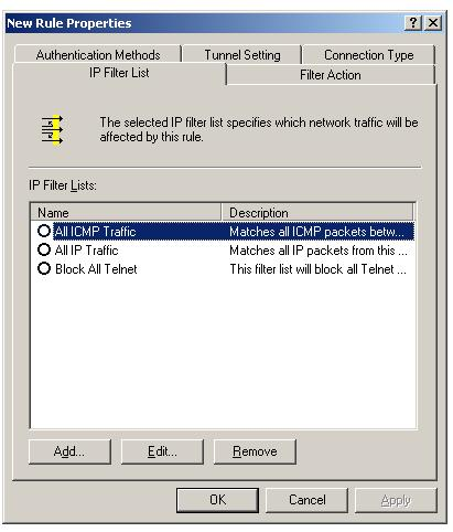 IPSec IP filter to allow secure traffic