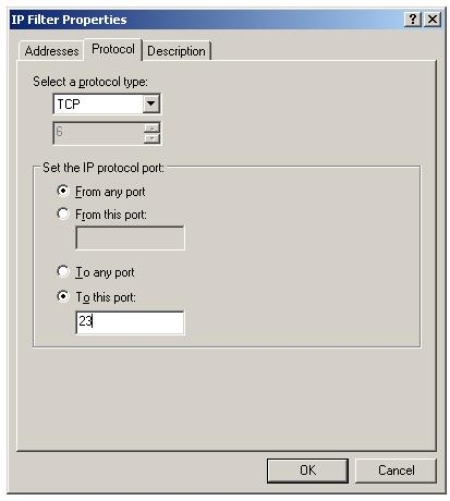 Protocol and port number for IPSec IP filter list