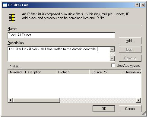 New IPSec IP filter list dialog box