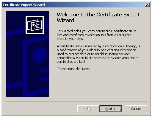 Certificate Export Wizard - Welcome Screen