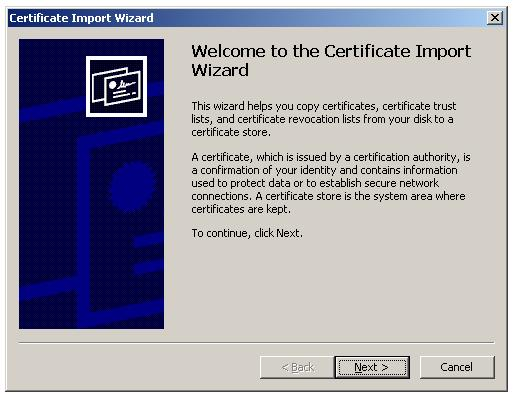 Import Root Certificate to Trusted Root CA store - Certificate Import Wizard
