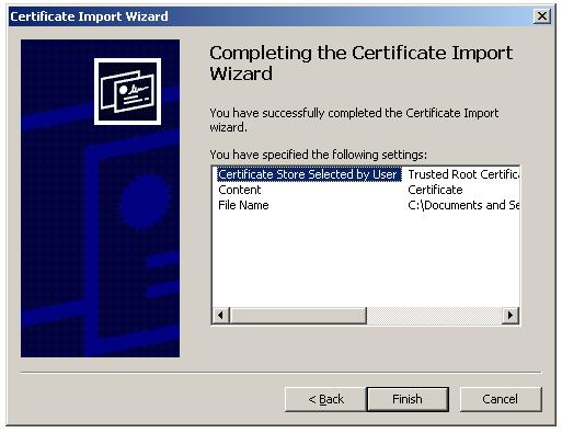 Import Root Certificate to Trusted Root CA store - Finish Certificate import wizard
