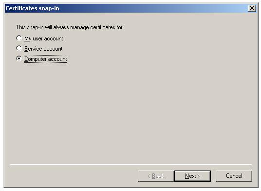 Import Root Certificate to Trusted Root CA store - Select Computer Account