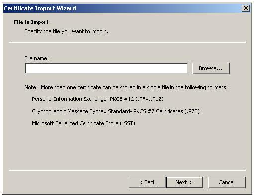 Import Root Certificate to Trusted Root CA store - Select the Root CA certificate