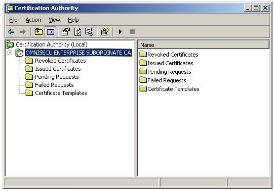 Install CA certificate on Enterprise Subordinate CA - Certification Authority Console