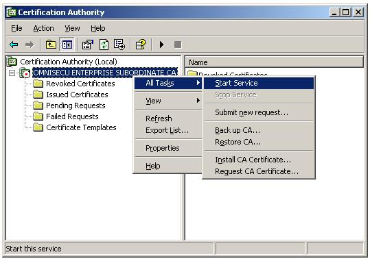 Install CA certificate on Enterprise Subordinate CA - Start Certificate Services