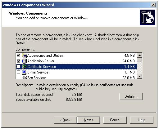 Installing Enterprise Subordinate Certificate Authority - Add Remove Windows Components