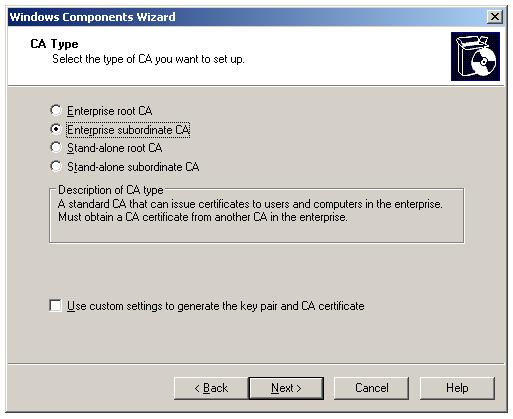 Installing Enterprise Subordinate Certificate Authority - Enterprise subordinate CA
