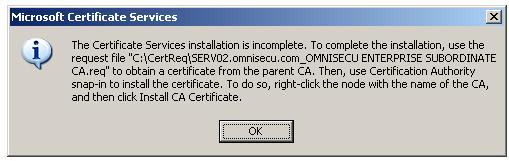 Installing Enterprise Subordinate Certificate Authority - Installation incomplete