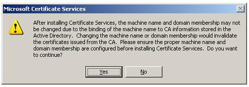 Installing Enterprise Subordinate Certificate Authority - Machine Name Confirmation