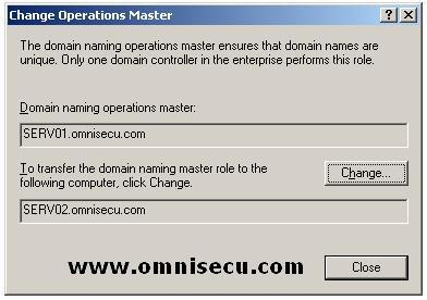 Active Directory Domains and Trusts Change Operations Master Dialog