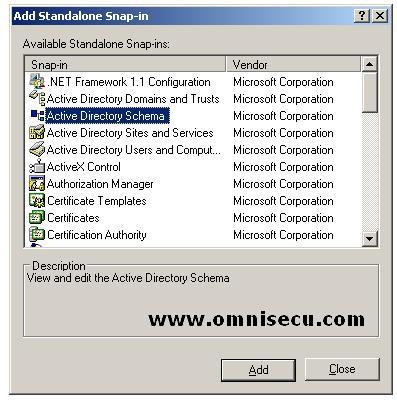 Active Directory Schema MMC Add Stand Alone Snap-in dialog