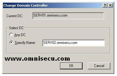 Active Directory Schema Change Domain Controller Dialog