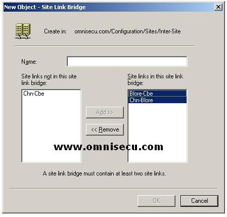 Active Directory Sites and Services new object Site Link bridge dialog