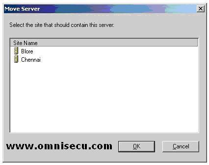 Active Directory Sites and Services snap-in Move Server Dialog
