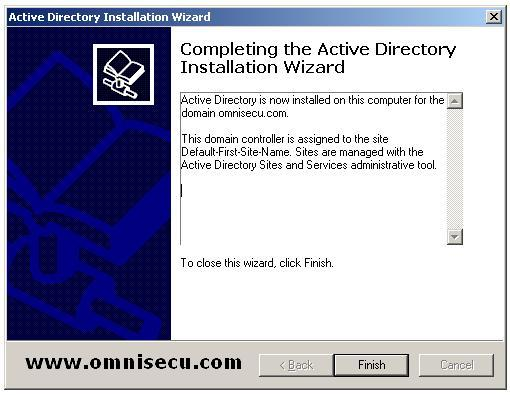Dcpromo Completing Active Directory Installation Wizard