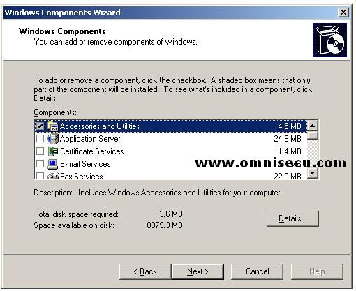 DNS Installation Windows Components Dialog box
