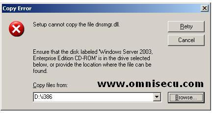 DNS Installation Copy Error