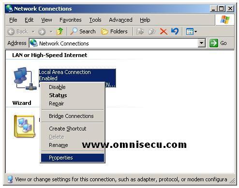 Configure static IP Address - Right Click Local Area Connection