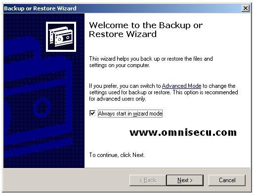backup utility ntbackup wizard mode