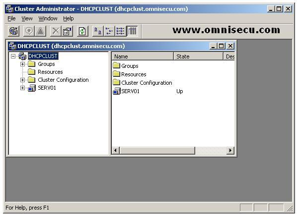 Failover server cluster administratrator GUI tool new cluster