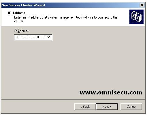 New Cluster wizard Cluster IP Address
