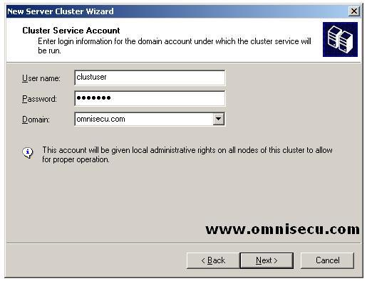 New Cluster wizard Cluster Service Account and Password