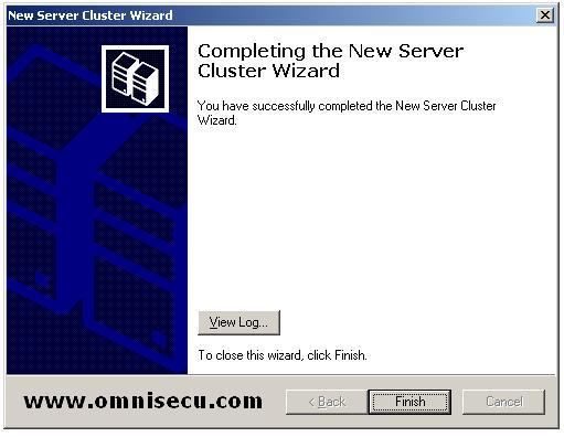 New Cluster wizard Completing